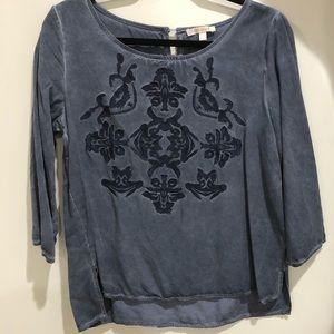 Denim 3-4 sleeve shirt